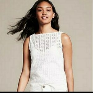 Banana Republic Laser Cut Sleeveless Top White M